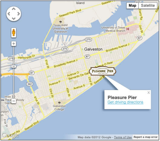 map of the galveston pier location