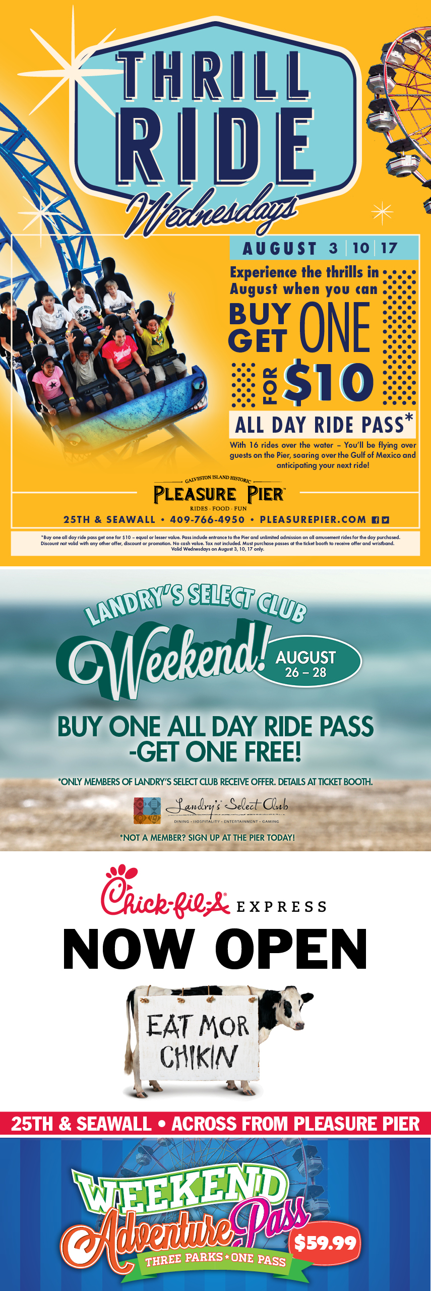 Upcoming events for Pleasure Pier.