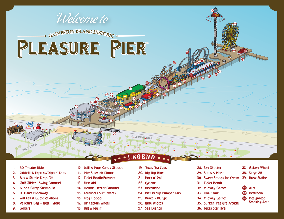 View The Pleasure Pier Map And Find Fun Food